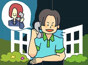 電話相談する男性