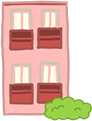 赤い2階建てのビル