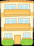 黄色い3階建てのマンション