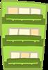緑の3階建てのマンション