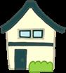 緑の屋根の2階建て一軒家